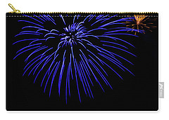 Carry-all Pouch featuring the photograph Purple And Yellow Fireworks by Suzanne Luft