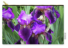 Carry-all Pouch featuring the photograph Purple Bearded Irises by Penny Lisowski
