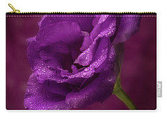 Purple Blossom With Morning Dew Carry-all Pouch by Garry McMichael