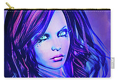 Purple Blue Portrait Carry-all Pouch
