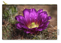 Carry-all Pouch featuring the photograph Purple Cactus Flower  by Saija Lehtonen
