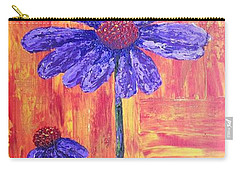 Purple Daisy Carry-all Pouch by T Fry-Green