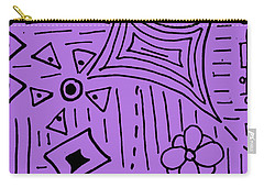 Carry-all Pouch featuring the drawing purple Doodle Art by Patricia Cleasby