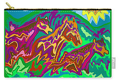 Purple Feathered Horses Carry-all Pouch
