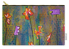 Carry-all Pouch featuring the painting Purple Fields Of Joy by Patricia Cleasby
