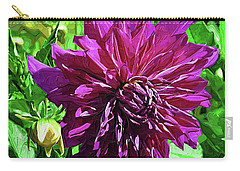 Carry-all Pouch featuring the digital art Purple Floral by Kirt Tisdale