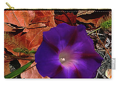 Carry-all Pouch featuring the photograph Purple Flower Autumn Leaves by Roger Bester
