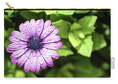 Purple Flower On Green Carry-all Pouch