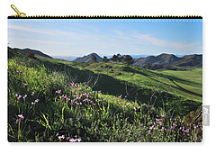 Carry-all Pouch featuring the photograph Purple Flowers And Green Hills Landscape by Matt Harang