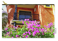 Carry-all Pouch featuring the photograph Purple Flowers By The Balcony by Francesca Mackenney