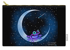 Carry-all Pouch featuring the painting Purple Frog On A Crescent Moon by Nick Gustafson