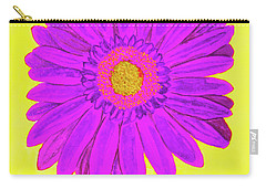 Purple  Gerbera On Yellow, Watercolor Carry-all Pouch