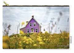 Purple House And Yellow Flowers Carry-all Pouch