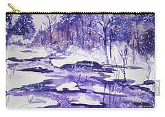 Carry-all Pouch featuring the painting Purple Ice On Kaaterskill Creek by Ellen Levinson