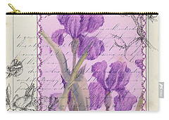 Carry-all Pouch featuring the drawing Purple Iris by Cathie Richardson