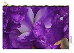 Carry-all Pouch featuring the photograph Purple Iris Close Up by Jean Noren