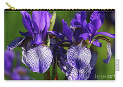 Carry-all Pouch featuring the photograph Purple Iris Doubled by Rachel Cohen