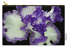 Carry-all Pouch featuring the photograph Purple Iris Frills by Jean Noren