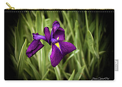 Carry-all Pouch featuring the photograph Purple Japanese Iris by Joann Copeland-Paul