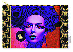 Carry-all Pouch featuring the digital art Purple Lady - Deco by Chuck Staley