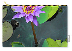 Purple Lilly With Lilly Pads Carry-all Pouch