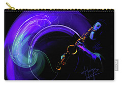 Carry-all Pouch featuring the painting Purple Moon by DC Langer