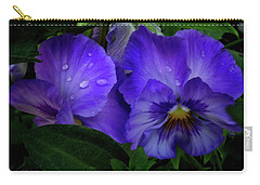 Purple Pansies Carry-all Pouch by Mikki Cucuzzo