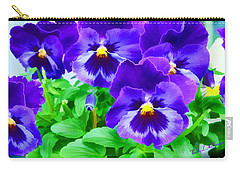 Carry-all Pouch featuring the photograph Purple Pansies by Wendy McKennon