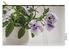 Carry-all Pouch featuring the photograph Purple Pansy Flowers by Kim Hojnacki