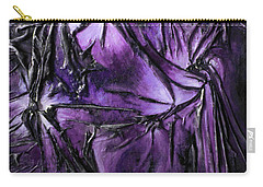Carry-all Pouch featuring the mixed media Purple Pedals by Angela Stout