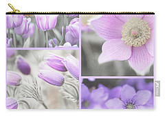 Carry-all Pouch featuring the photograph Purple Spring Bloom Collage. Shabby Chic Collection by Jenny Rainbow