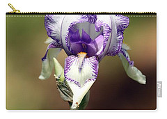 Carry-all Pouch featuring the photograph Purple Striped Bearded Iris by Sheila Brown