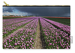 Purple Tulips Field Carry-all Pouch by Mihaela Pater