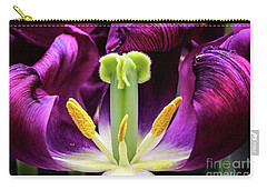 Carry-all Pouch featuring the photograph Purple Tulip Macro by Darleen Stry