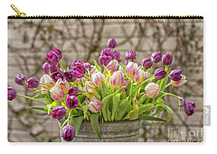 Carry-all Pouch featuring the photograph Purple Tulips In A Bucket by Patricia Hofmeester