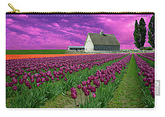 Purple Tulips With Pink Sky Carry-all Pouch