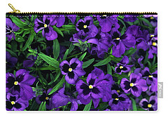 Carry-all Pouch featuring the photograph Purple Viola Flowers by Sally Weigand
