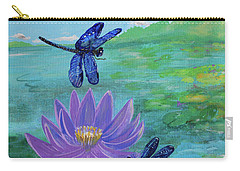 Purple Water Lily And Dragonflies Carry-all Pouch