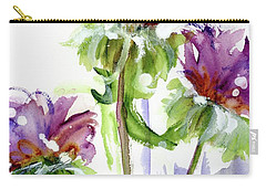 Carry-all Pouch featuring the painting Purple Wildflowers by Dawn Derman