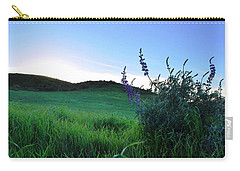 Carry-all Pouch featuring the photograph Purple Wildflowers In Beautiful Green Pastures by Matt Harang
