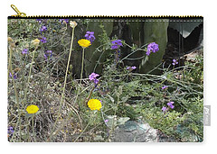 Purple Yellow Flowers Green Cactus Carry-all Pouch
