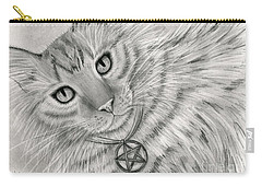 Carry-all Pouch featuring the drawing Purrfect Page Of Pentacles - Tarot Card Art by Carrie Hawks