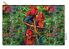 Carry-all Pouch featuring the digital art Qualia's Parrots by Russell Kightley
