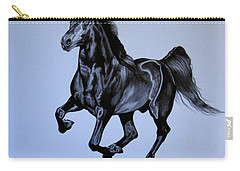 The Black Quarter Horse In Bic Pen Carry-all Pouch by Cheryl Poland