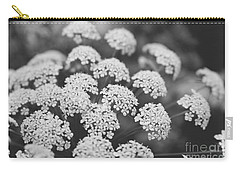 Carry-all Pouch featuring the photograph Queen Anne's Lace Floral Monochrome by Ella Kaye Dickey