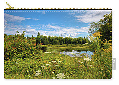 Carry-all Pouch featuring the photograph Queen Anne's Lace On The Moose River by David Patterson