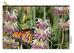 Carry-all Pouch featuring the photograph Queen Butterfly And Purple Wildflowers by Sheila Brown