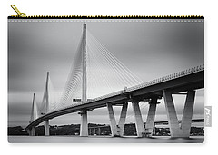 Carry-all Pouch featuring the photograph Queensferry Crossing Bridge Mono 1 by Grant Glendinning