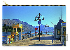 Carry-all Pouch featuring the digital art Queenstown's Majestic Mountains by Kathy Kelly