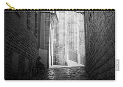Quiet Moment Near Barcelona Cathedral, B/w Carry-all Pouch by Valerie Reeves